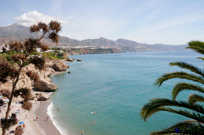 View across Calahonda beach from the Balcon de Europa, Nerja